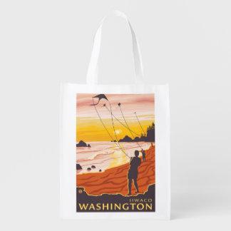 Beach & Kites - Ilwaco, Washington Reusable Grocery Bag