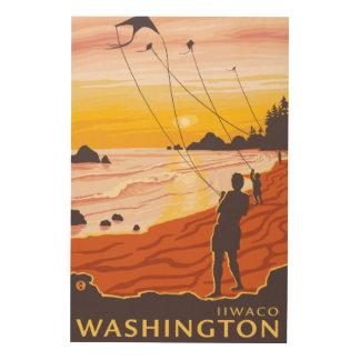 Beach & Kites - Ilwaco, Washington Wood Prints