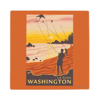 Beach & Kites - La Push, Washington Wood Coaster
