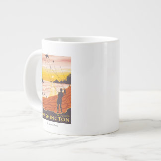 Beach & Kites - Moclips, Washington Large Coffee Mug