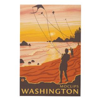Beach & Kites - Moclips, Washington Wood Print