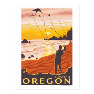 Beach & Kites - Newport, Oregon Postcard
