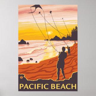Beach & Kites - Pacific Beach, Washington Poster