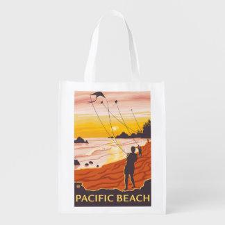 Beach & Kites - Pacific Beach, Washington Reusable Grocery Bag