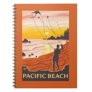 Beach & Kites - Pacific Beach, Washington Spiral Notebook