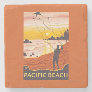 Beach & Kites - Pacific Beach, Washington Stone Coaster