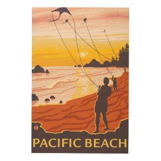 Beach & Kites - Pacific Beach, Washington Wood Canvases