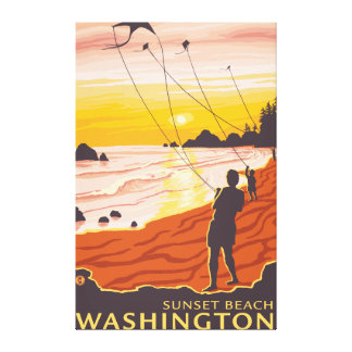 Beach & Kites - Sunset Beach, Washington Canvas Print