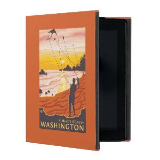 Beach & Kites - Sunset Beach, Washington iPad Folio Cover