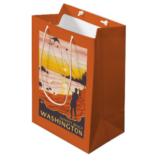 Beach & Kites - Sunset Beach, Washington Medium Gift Bag