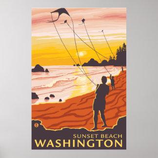 Beach & Kites - Sunset Beach, Washington Poster
