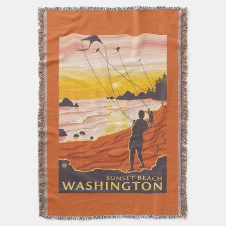 Beach & Kites - Sunset Beach, Washington Throw Blanket
