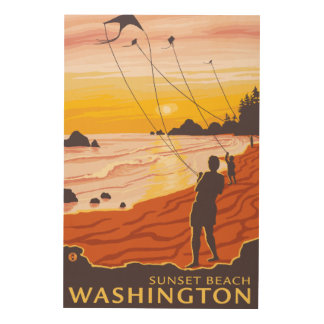 Beach & Kites - Sunset Beach, Washington Wood Prints