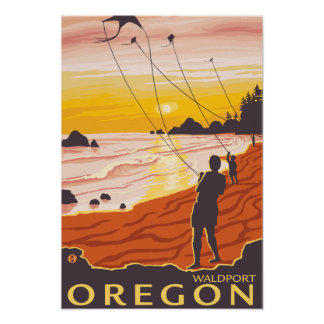 Beach & Kites - Waldport, Oregon Poster