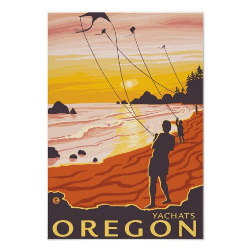 Beach & Kites - Yachats, Oregon Print