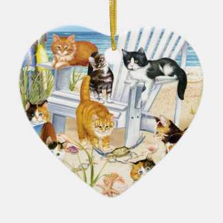 Beach Kittens Heart Ornament