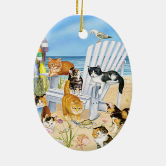 Beach Kittens Oval Ornament