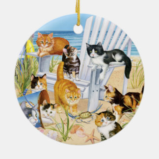 Beach Kittens Round Ceramic Ornament