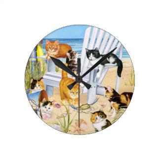 Beach Kittens Wall Clock