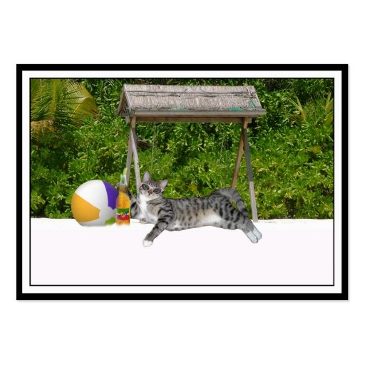 Beach Kitty on White Sands Business Card Template