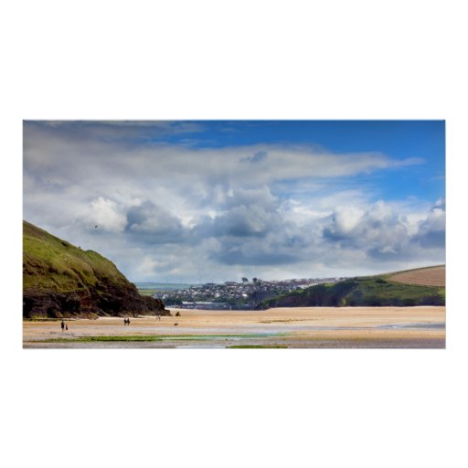 Beach landscape at Daymer bay in Cornwall UK Posters