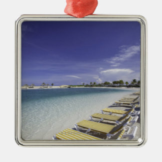 Beach lawn chairs tropical water christmas ornament