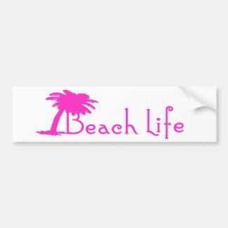 Beach Life Bumper Sticker (Pink) Car Bumper Sticker