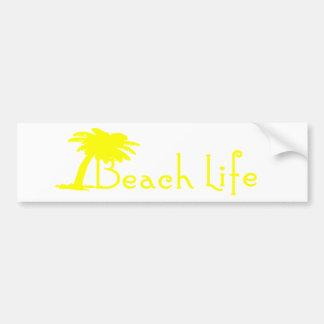 Beach Life Bumper Sticker (Yellow) Car Bumper Sticker