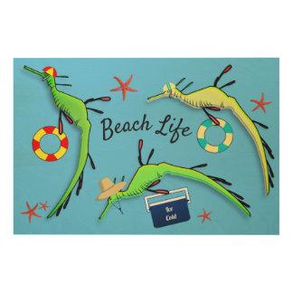 Beach Life of Weedy Sea Dragons Wood Print