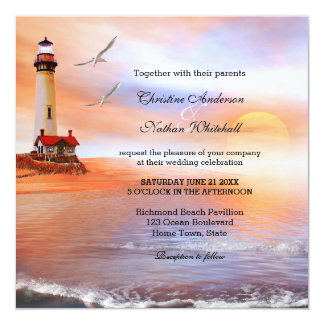 Beach Lighthouse Wedding Invitation