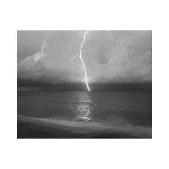 Beach Lightning Canvas Print
