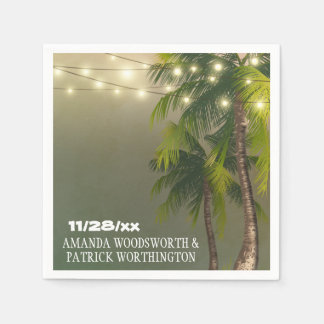 Beach Lights Palm Tree Tropical Wedding Napkins Paper Serviettes