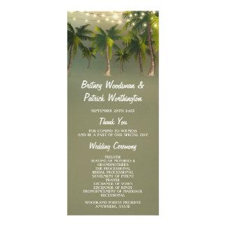 Beach Lights Palm Tree Tropical Wedding Programs Rack Card