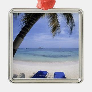 Beach, Lounge Chair, Palm tree, Horizon Over Christmas Ornament