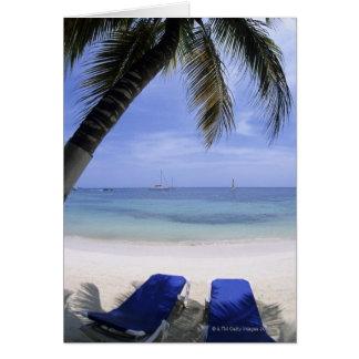 Beach, Lounge Chair, Palm tree, Horizon Over Greeting Card