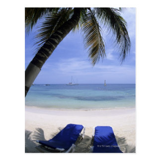 Beach, Lounge Chair, Palm tree, Horizon Over Postcard