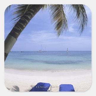 Beach, Lounge Chair, Palm tree, Horizon Over Square Sticker