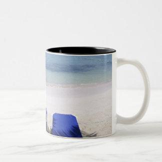 Beach, Lounge Chair, Palm tree, Horizon Over Two-Tone Coffee Mug