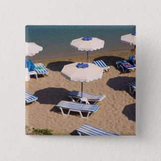 Beach Lounge | Rhodes, Dodecanese Islands, Greece 15 Cm Square Badge