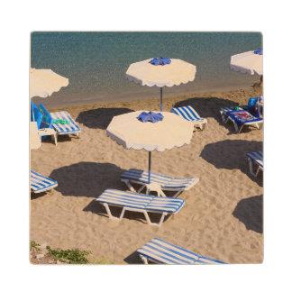 Beach Lounge | Rhodes, Dodecanese Islands, Greece Wood Coaster