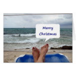 "BEACH LOUNGER SAYS ""MERRY CHRISTMAS"" GREETING CARDS"