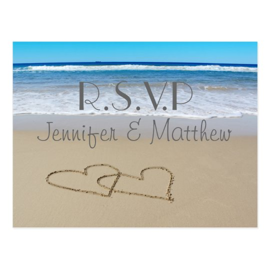 "Beach Love Hearts wedding ""rsvp"" postcard"
