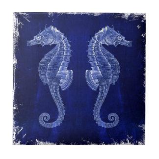 beach love ocean blue vintage sea horses small square tile