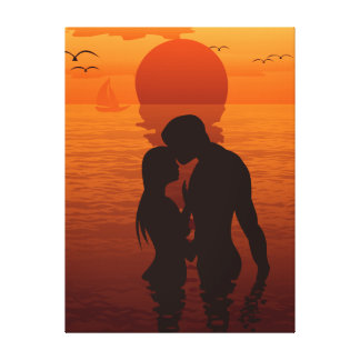 Beach Love Romance Silhouette Couple In The Sea Gallery Wrapped Canvas