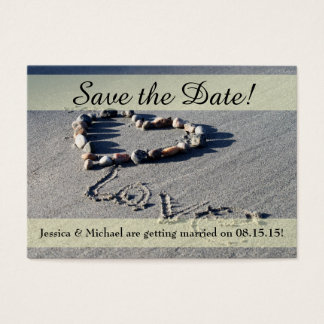 Beach Love Save the Date Business Card