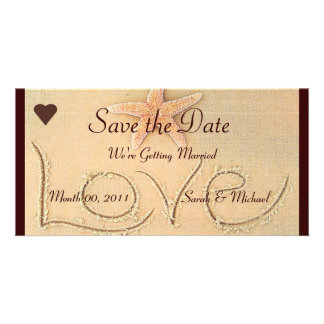 Beach Love Wedding Announcement Personalised Photo Card