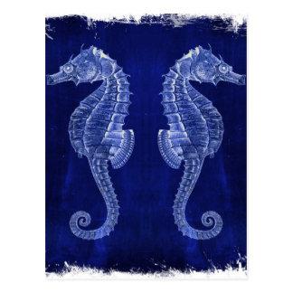 beach lover coastal ocean blue seahorses postcard