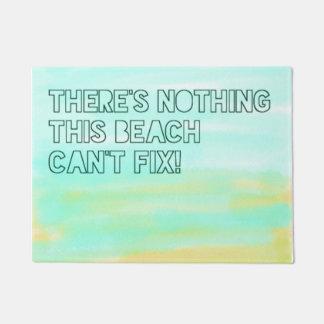 Beach Lover Quote Watercolor Typography Doormat