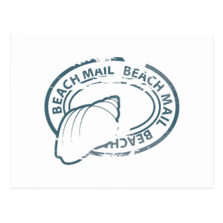 Beach mail rubber stamp postcard