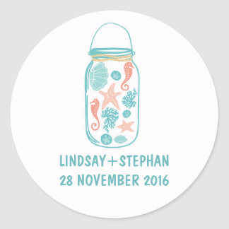 Beach mason jar cute wedding stickers